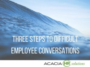 Learn about the three steps to having, managing, & dealing with tough, difficult & challenging conversations with your employees & staff at work or in the workplace.
